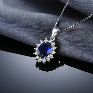 JewelryPalace Oval Princess Diana William Pendant Created Blue Sapphire Pendant 925 Sterling Silver Not Include A Chain Jewelry-WN014 - Styleibuy Online Shop