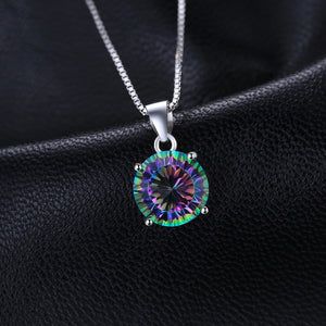 Styleibuy Nature Gem Stone Rainbow Fire Mystic Topaz Pendant Pure Solid 925 Sterling Silver Round Not Include A Chain-WN012 - Styleibuy Online Shop