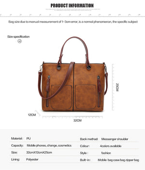 Styleibuy-2019 Women Shoulder Bag Vintage Causal Totes High Quality Dames PU Handbag -BAG069 - Styleibuy Online Shop