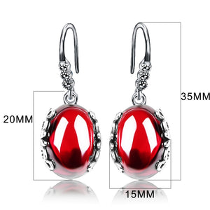 Retro Silver Earrings for Women Vintage Red Yellow Precious Stones with 925 Sterling Silver indian Jewelry pendientes-WE001 - Styleibuy Online Shop