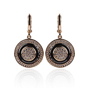 585 Rose Gold Round Black Earrings Micro Wax Inlay Natural Zircon Black Ceramic Women Wedding Stud Earring Jewelry   New Hot-WE007 - Styleibuy Online Shop