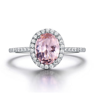 Styleibuy 925 Sterling Silver Ring Oval Classic Pink Sapphire Rings For Women Engagement Morganite Wedding Band Fine Jewelr Gift -WR001 - Styleibuy Online Shop