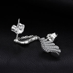 JewelryPalace 925 Sterling Silver Studs Earrings Glitter Angel Wings Wedding Bridal Vintage Fine Jewelry Gifts For Women New-WE31 - Styleibuy Online Shop
