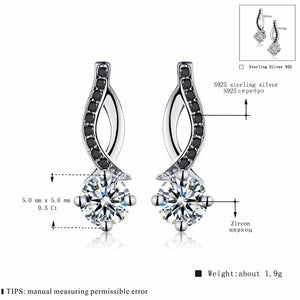 Genuine 925 Sterling Silver Jewelry Black&White Stone Engagement Stud Earrings for Women -WE024 - Styleibuy Online Shop
