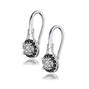 Trendy 2.6g 925 Sterling Silver Earring Black Spinel Anniversary Flower Drop Earrings for Women Fine Jewelry -WE026 - Styleibuy Online Shop