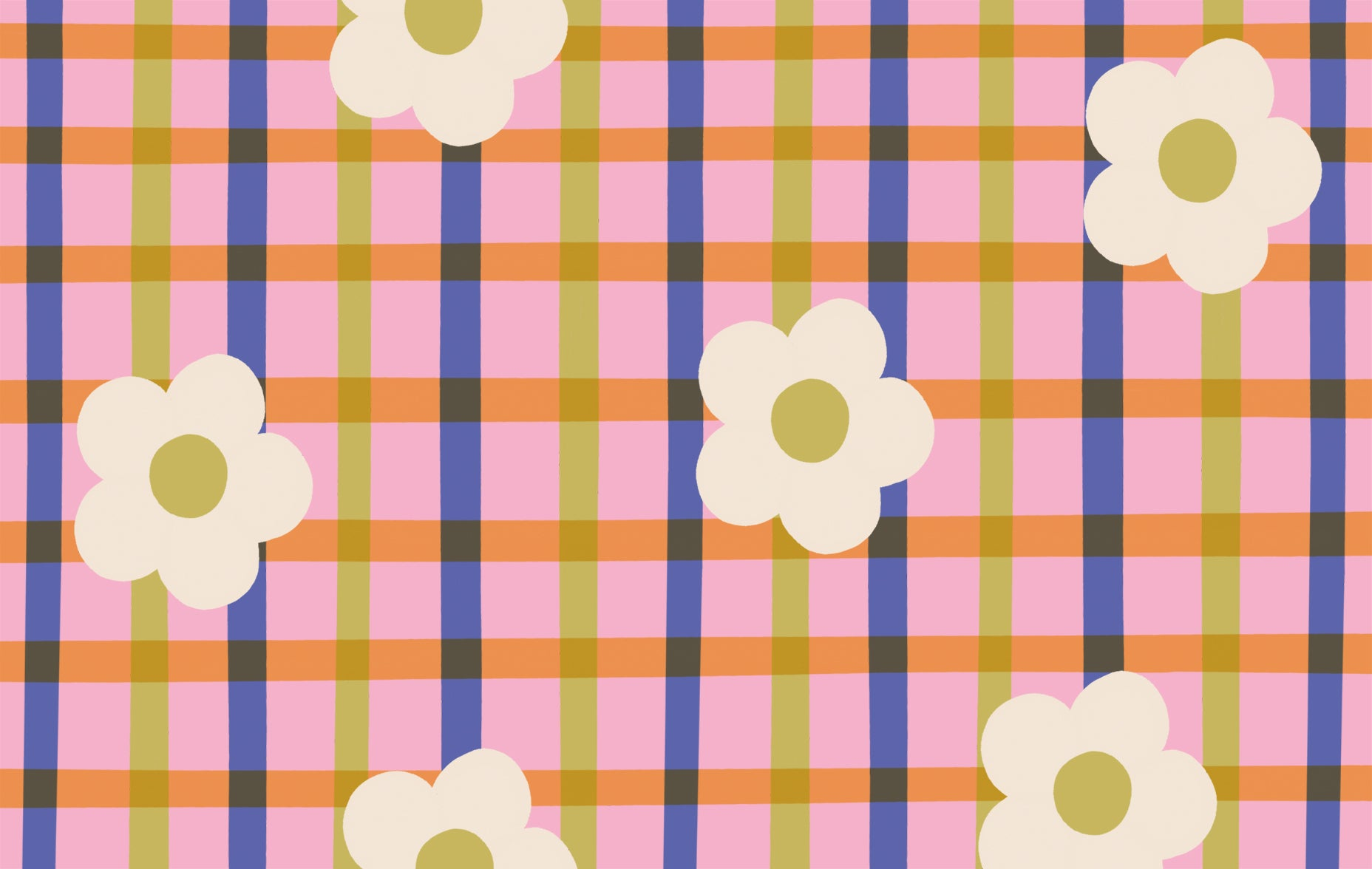 Daisy gingham HD free desktop wallpaper download | Raspberry Blossom
