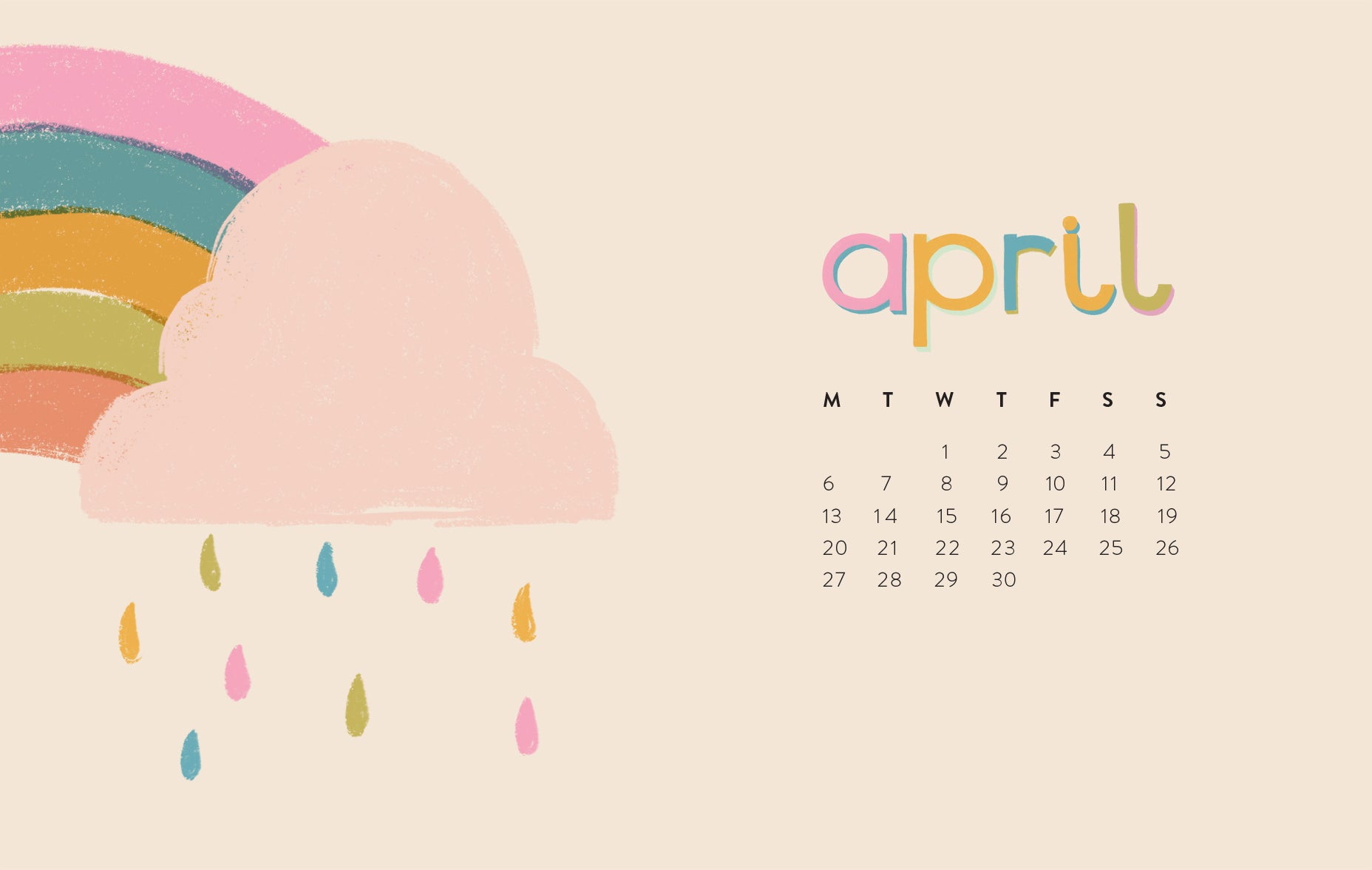 Illustrated colourful rainbow and cloud desktop wallpaper with April month calendar