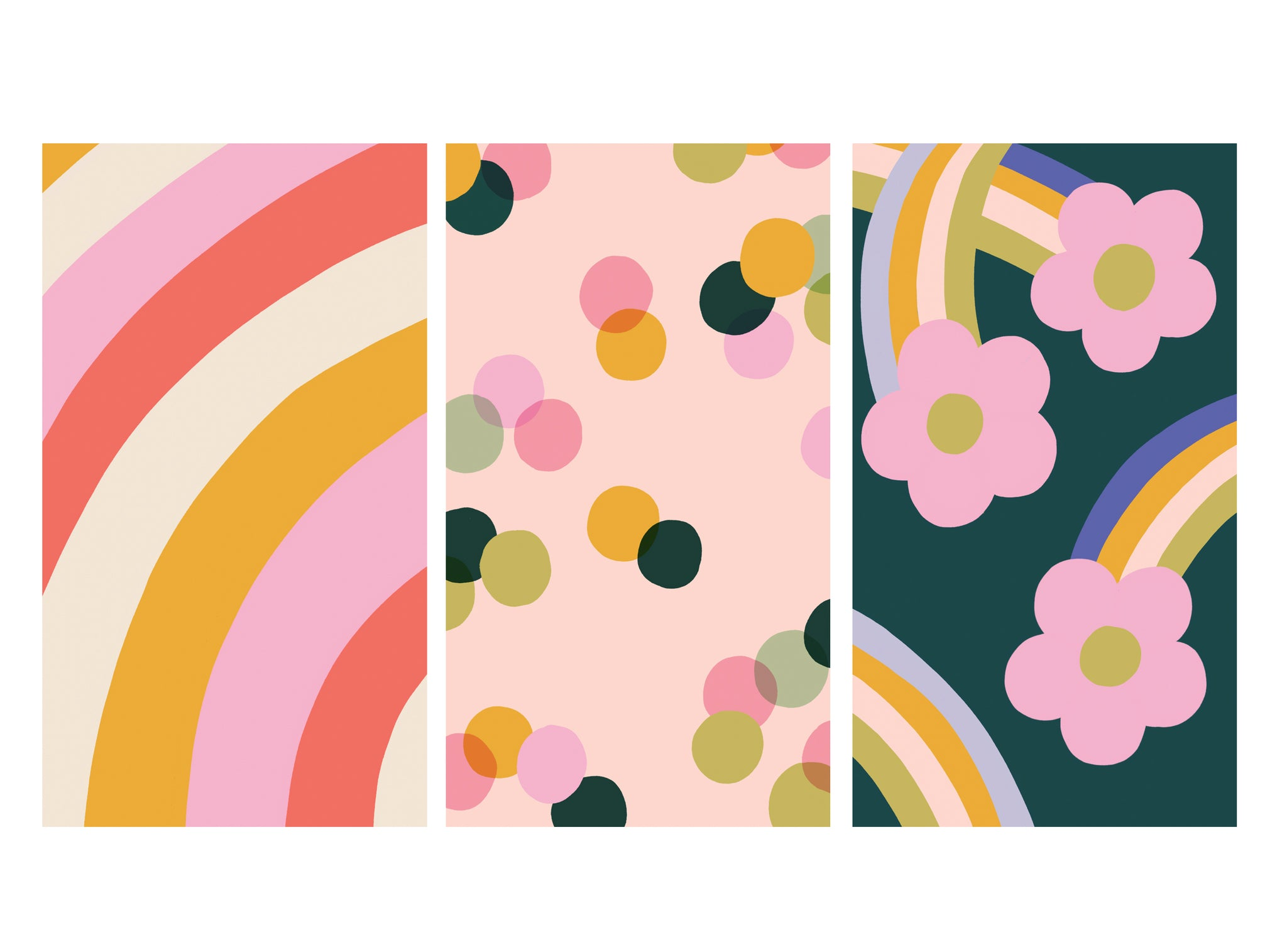 Three colourful free HD phone wallpaper downloads - rainblow pattern, dotty pattern and flower power rainbow and daisies | Raspberry Blossom