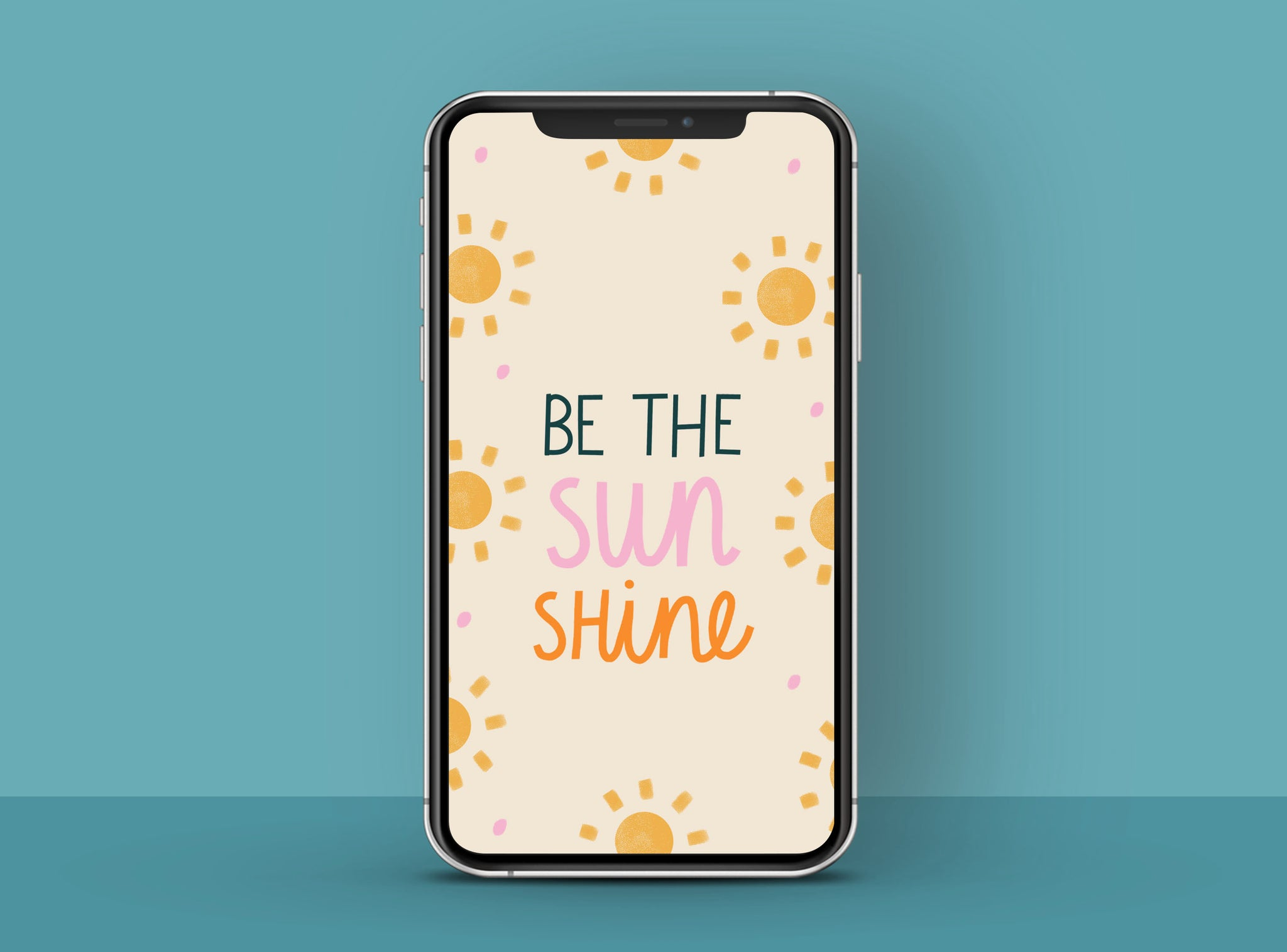 Cheerful and sunny phone wallpaper with a positive message 'Be the sunshine'| Raspberry Blossom