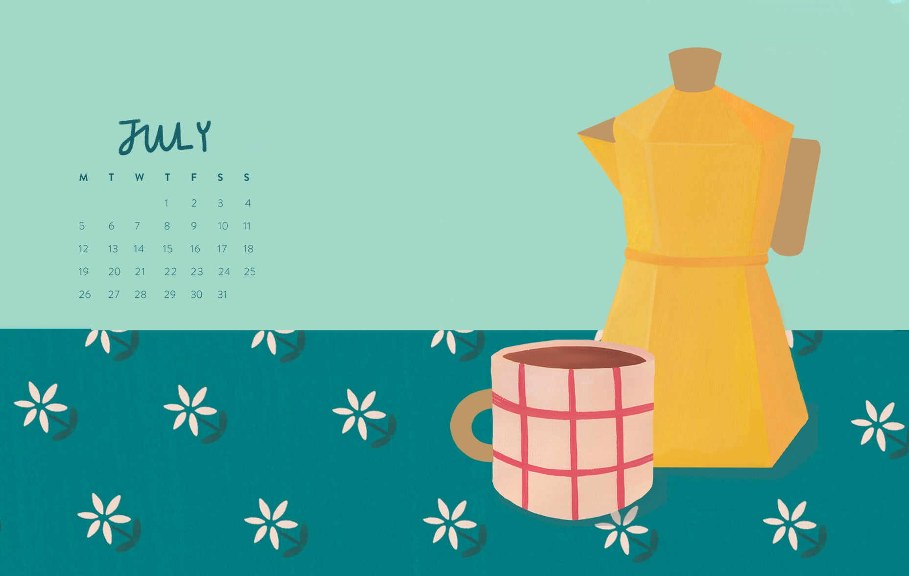 July calendar, coffee cup and stovetop espresso maker illustrated wallpaper for desktop | Raspberry Blossom