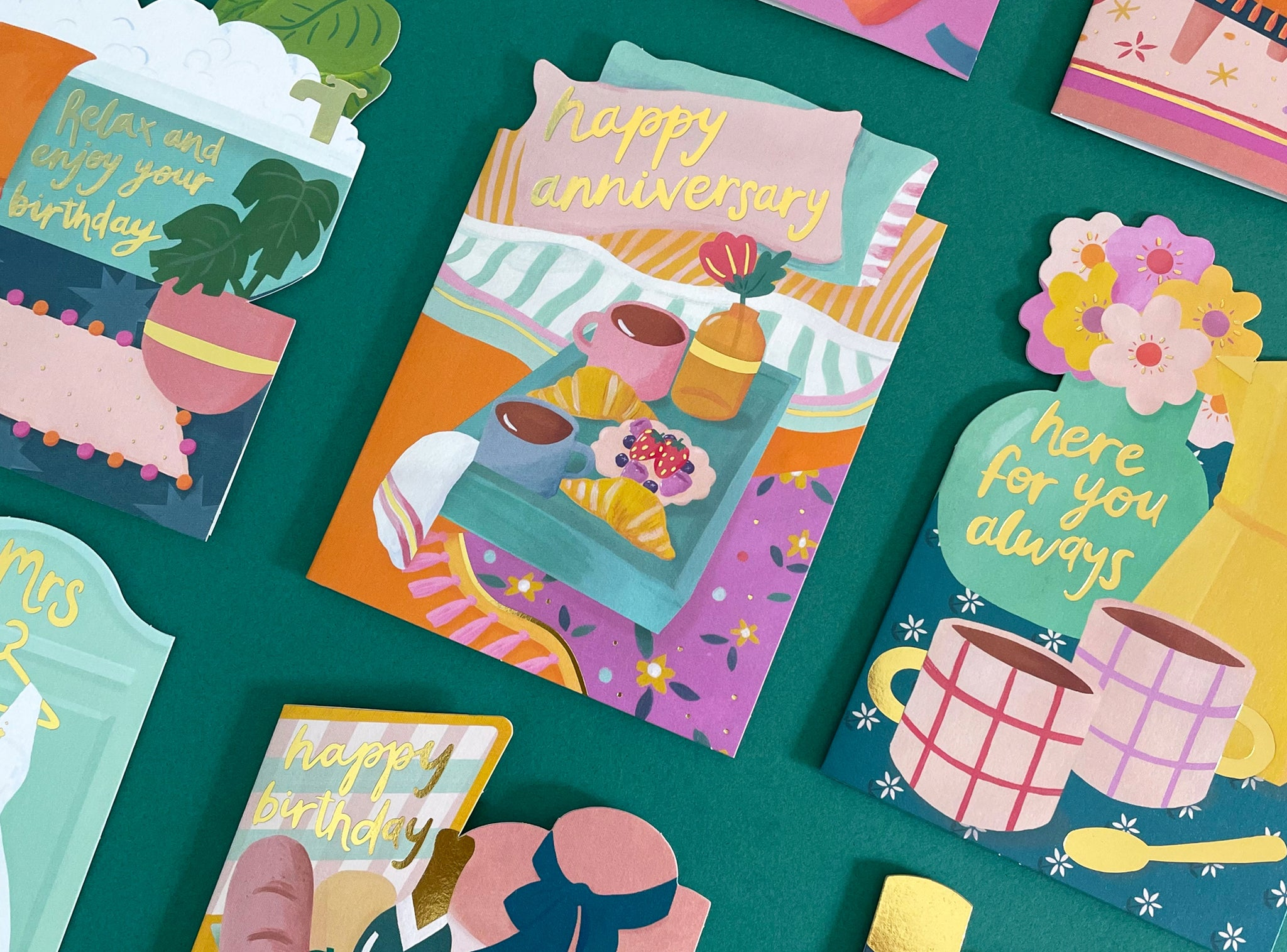 Golden Moments hand painted greeting card collection | Raspberry Blossom