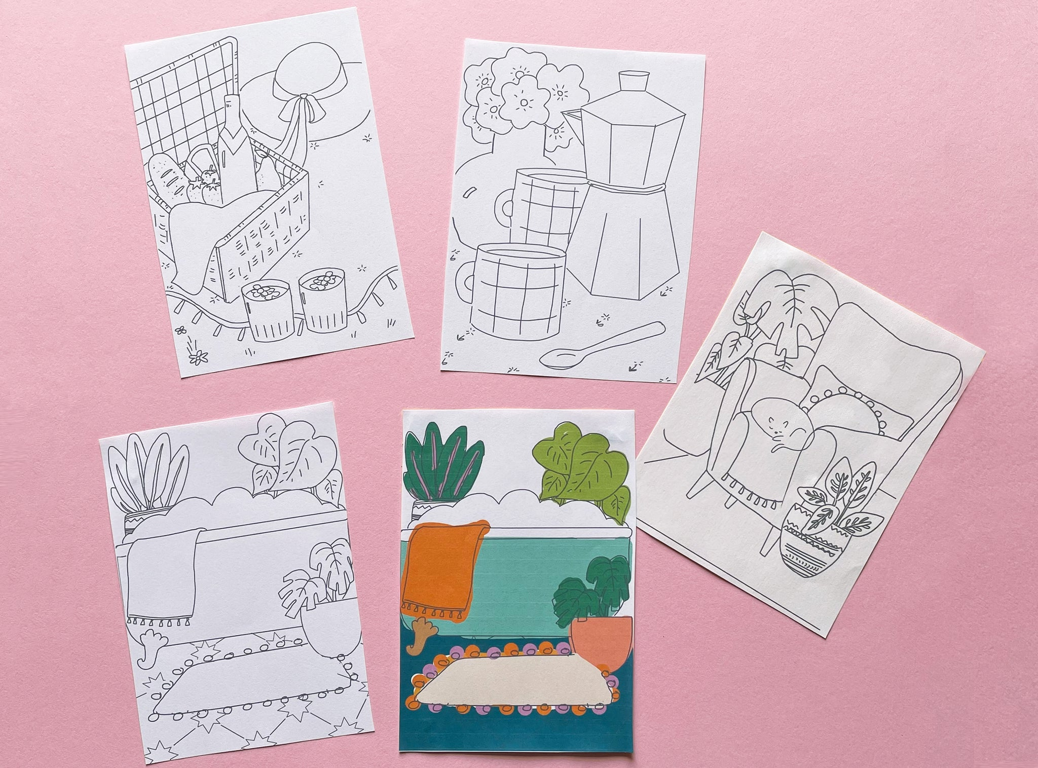 Illustrated sketch ideas for Golden Moments greeting card designs | Raspberry Blossom