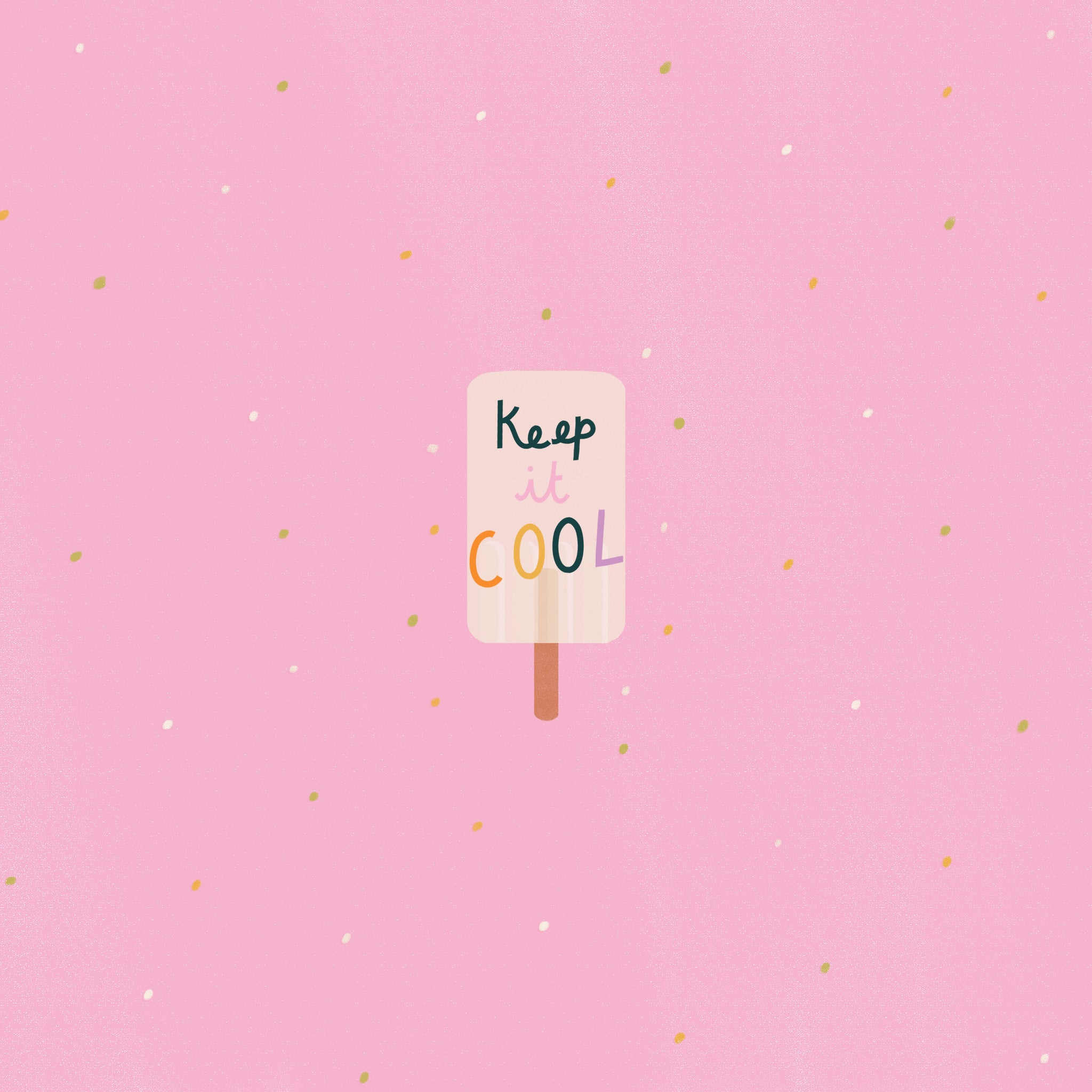'Keep it cool' design with illustrated ice lolly, wallpaper for tablet | Raspberry Blossom