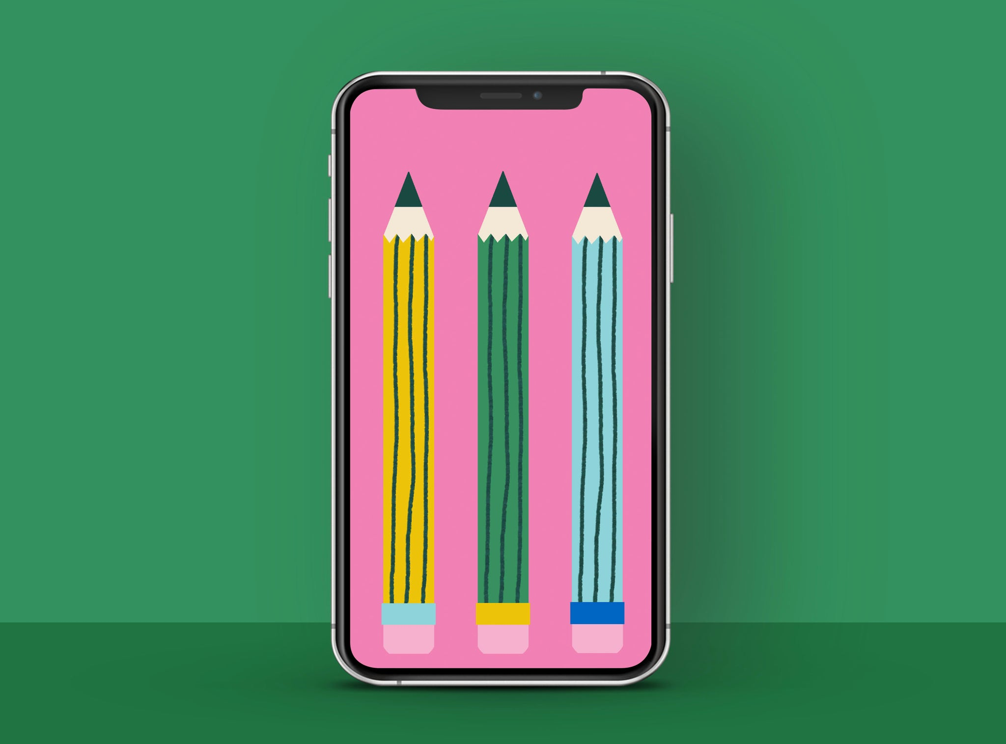 Free HD phone wallpaper with colourful illustrated pencils   Raspberry Blossom