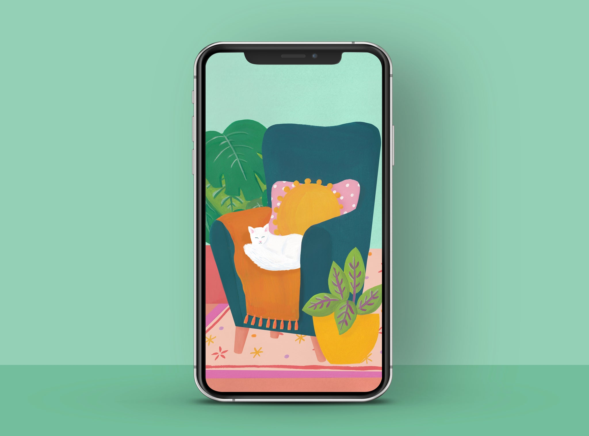 Cosy armchair with cute cat and houseplants, illustrated free phone wallpaper | Raspberry Blossom