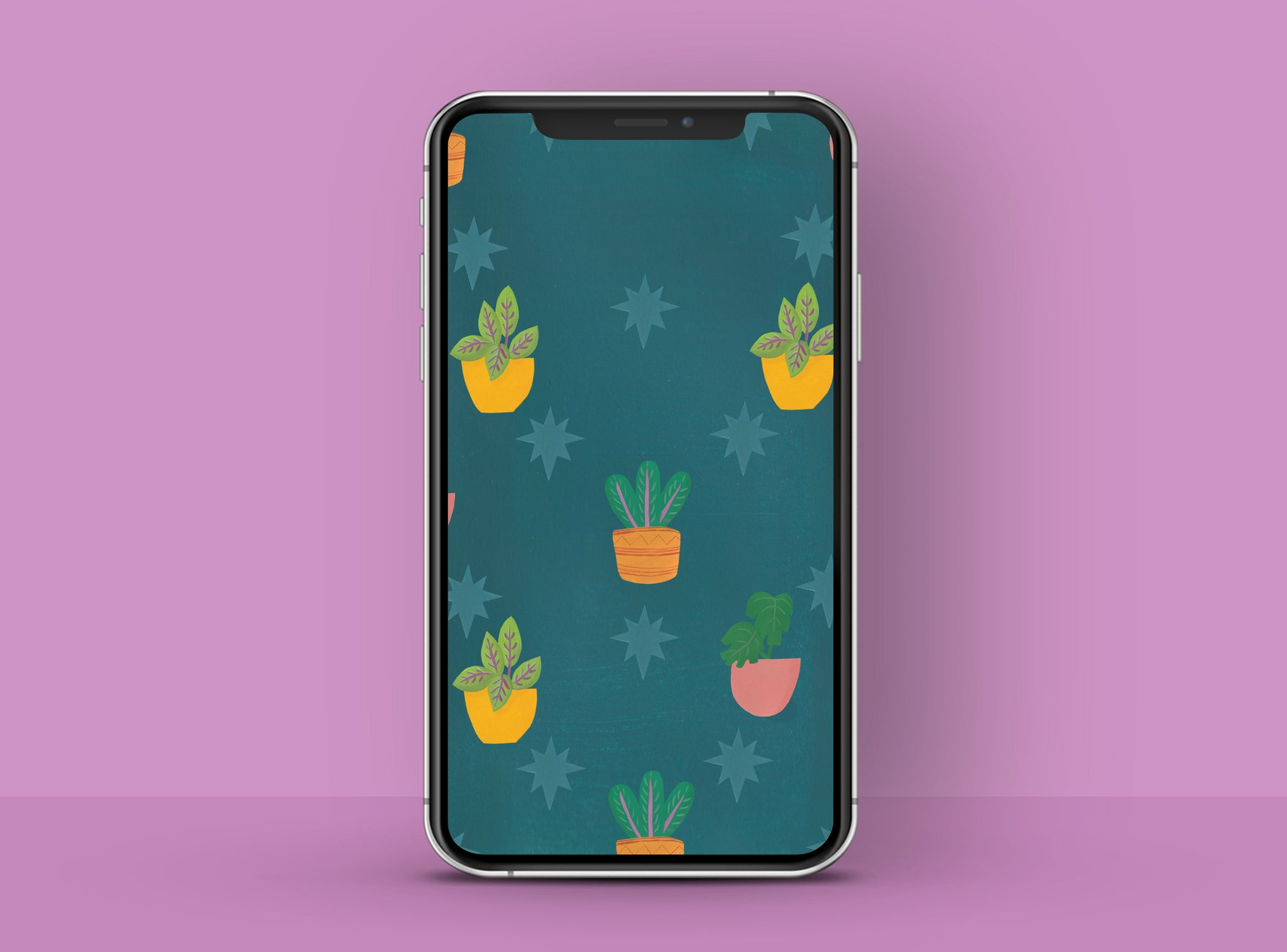 Colourful illustrated plant pattern, free HD phone wallpaper | Raspberry Blossom