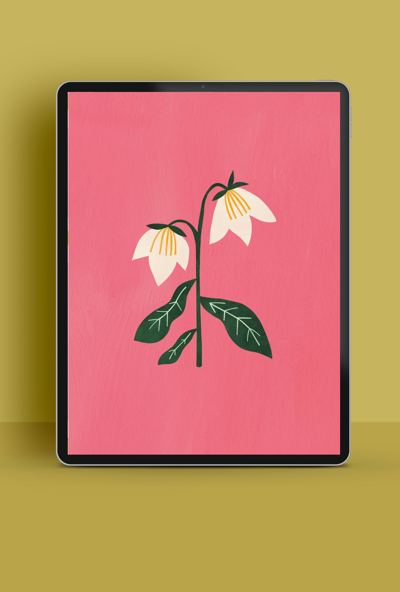 Illustrated tablet wallpaper with lily | Raspberry Blossom