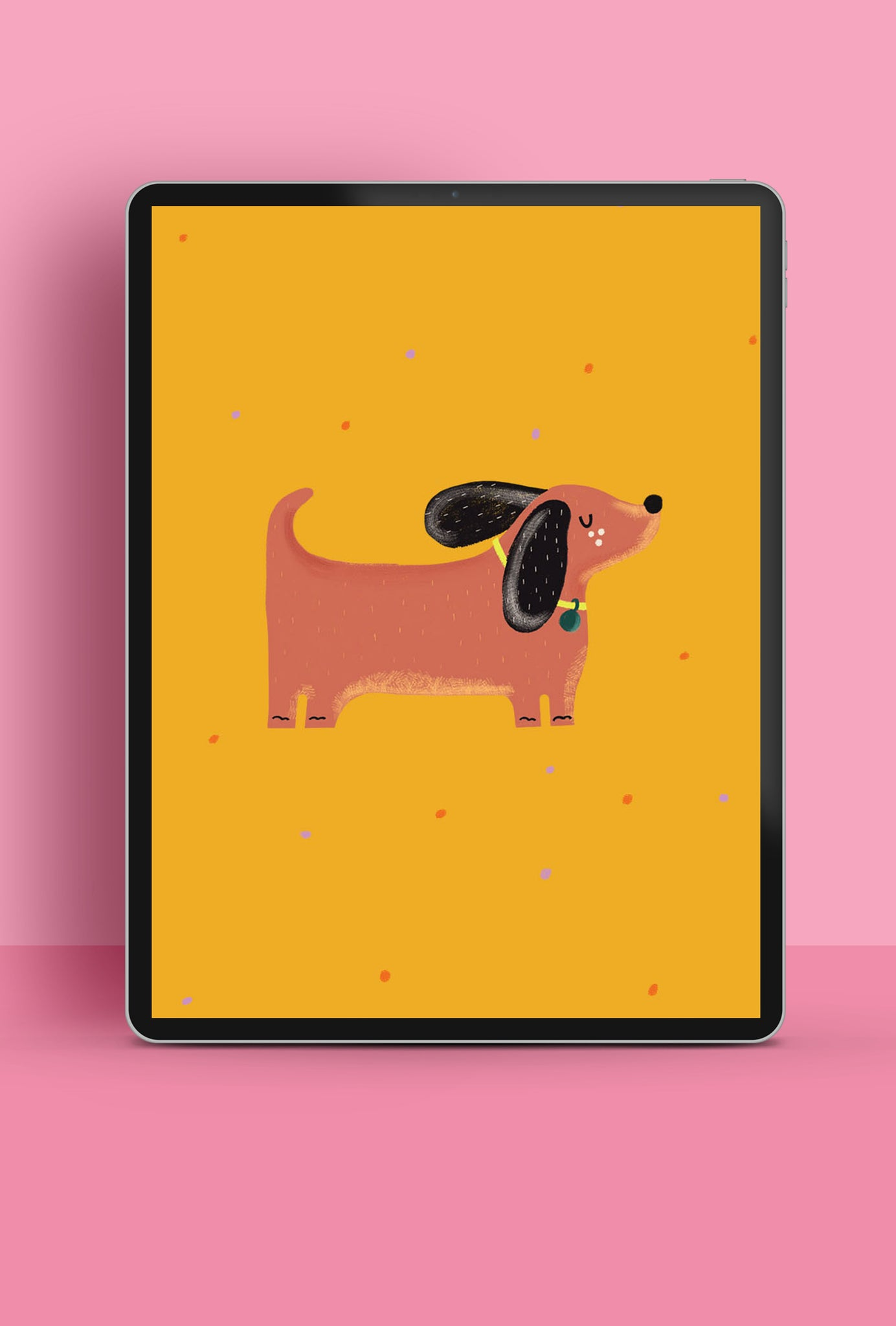 Cute and colourful illustrated sausage dog, free HD wallpaper for tablet | Raspberry Blossom