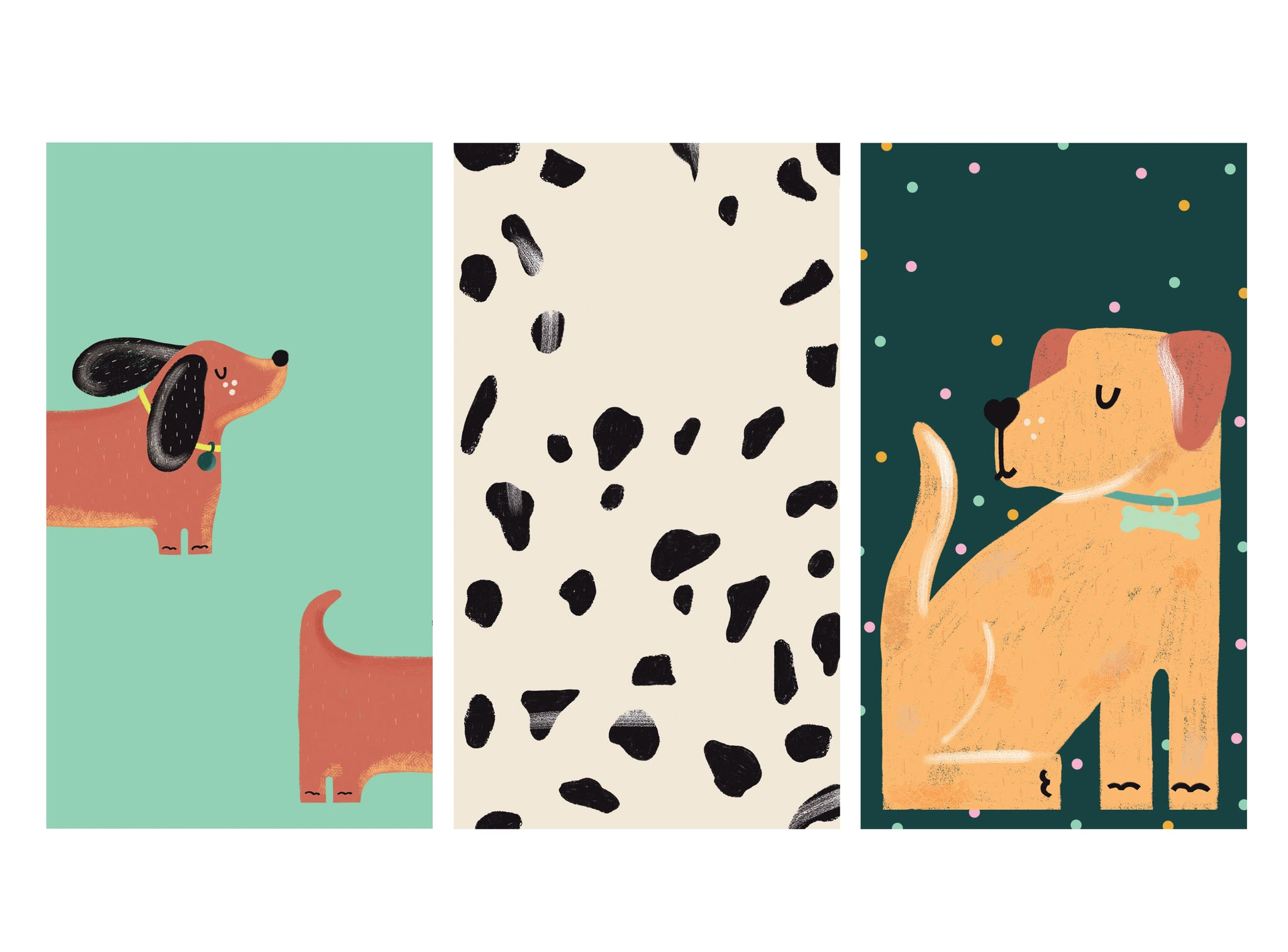 Colourful and cute illustrated dog wallpapers for phone | Raspberry Blossom