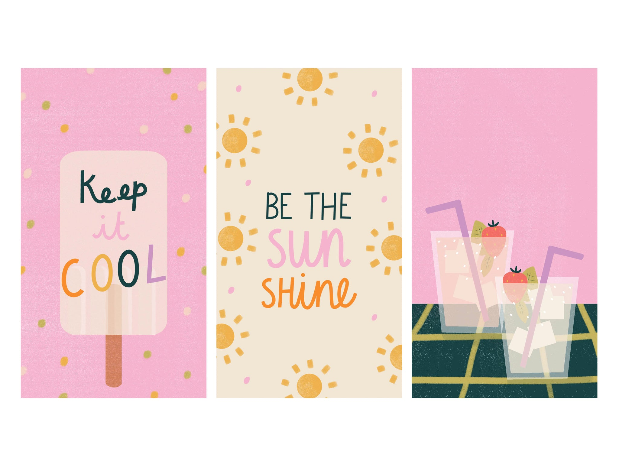 Bright and positive illustrated phone wallpapers | Raspberry Blossom