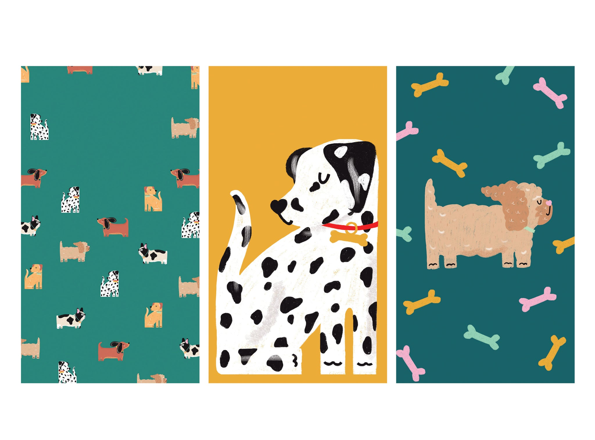 Colourful and cute free HD illustrated dog wallpapers for phone | Raspberry Blossom