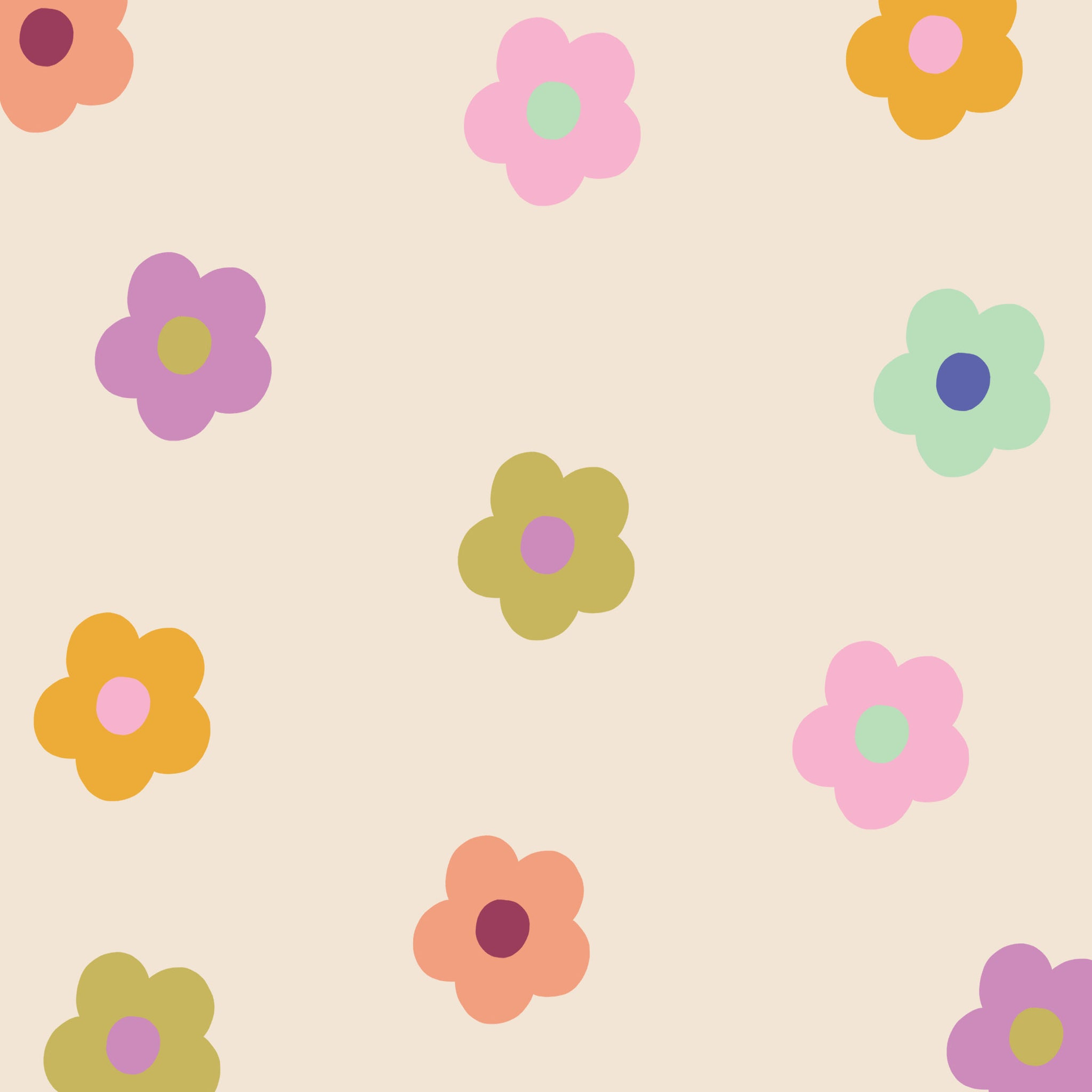 Spring Colourful Daisy Pattern Free HD Tablet Wallpaper   Raspberry Blossom