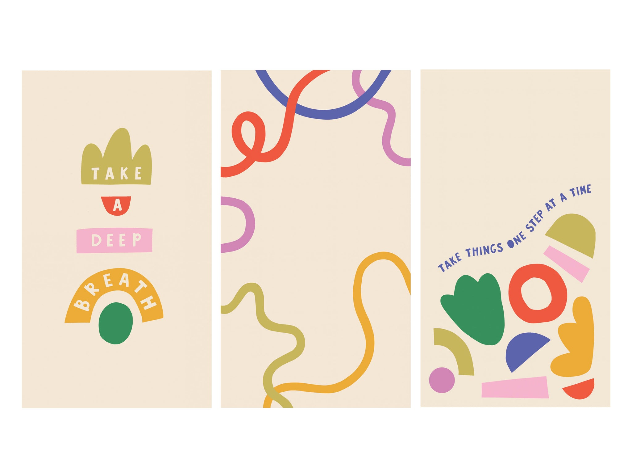 Three colourful free HD phone wallpaper downloads - 'Take a Deep Breath', colourful squiggles and 'Take one step at a time'   Raspberry Blossom