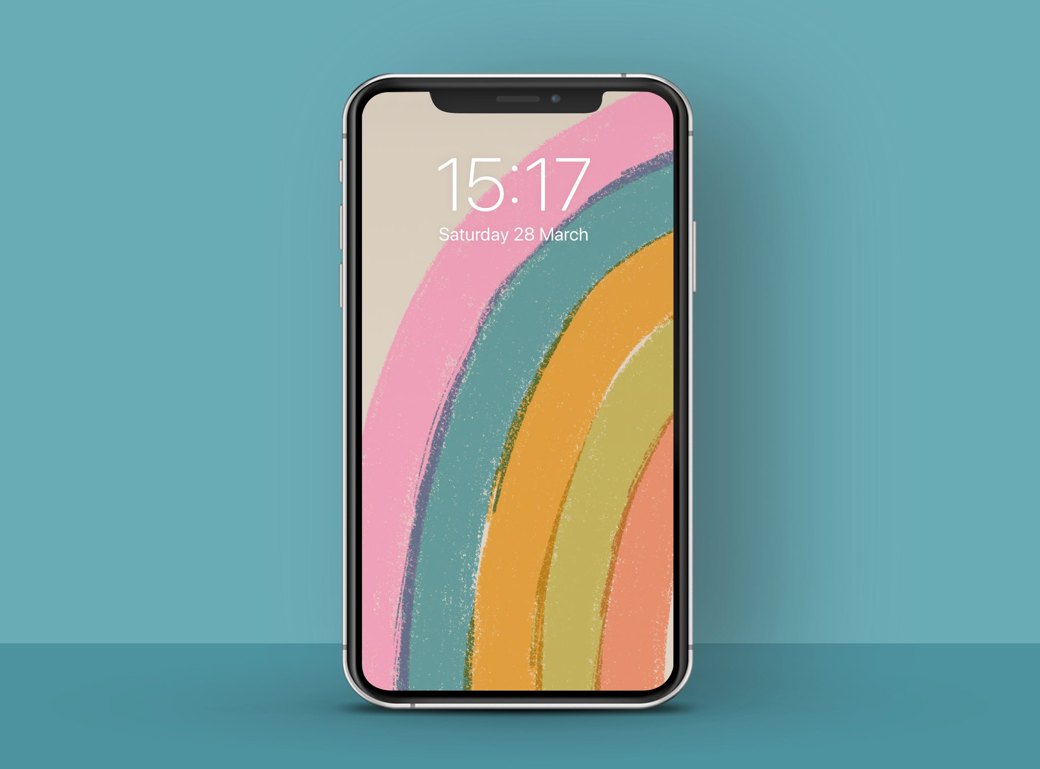 colourful illustrated half rainbow phone wallpaper