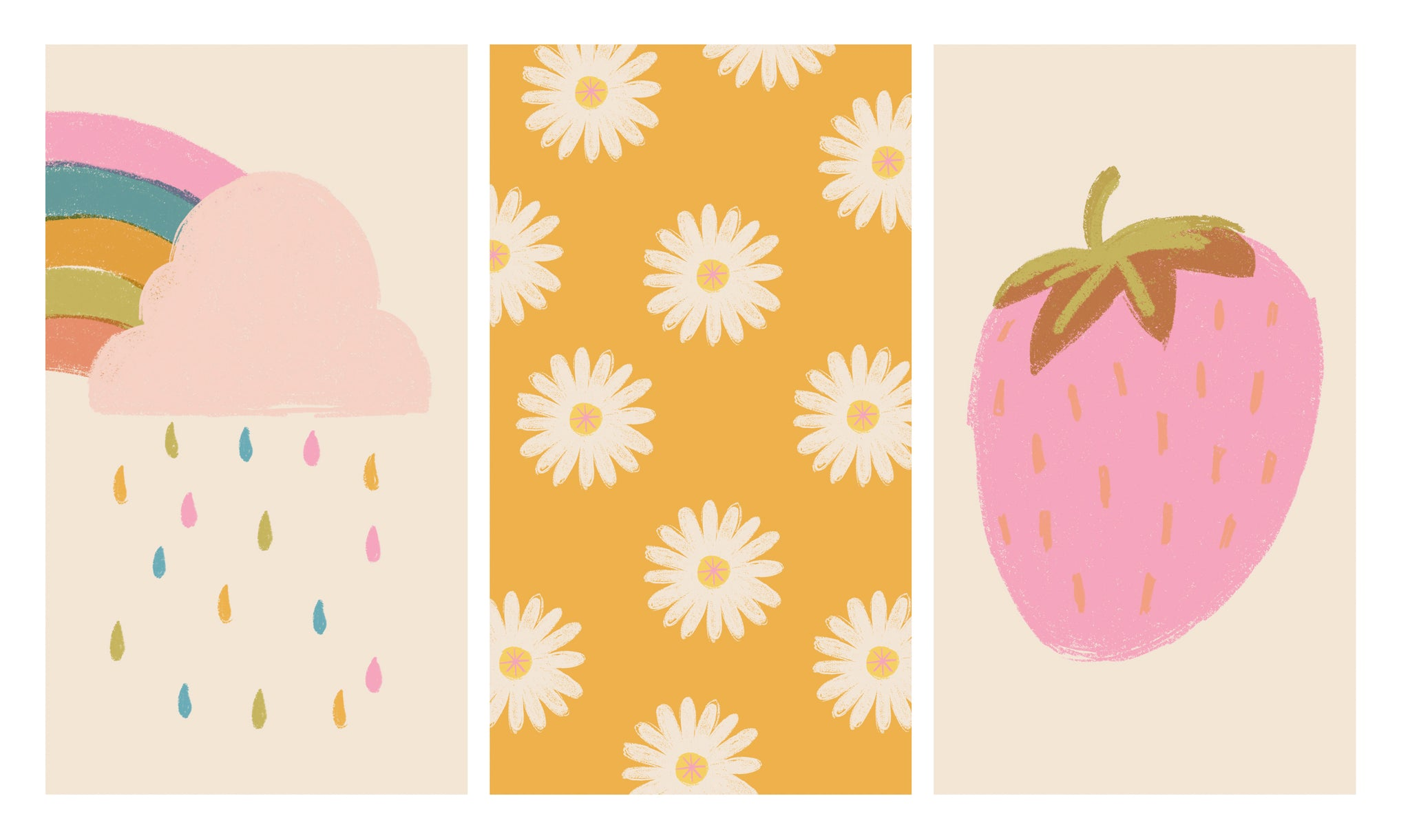 Three phone background designs. Colourful rainbow and cloud, illustrated multiple daisies and pink illustrated strawberry