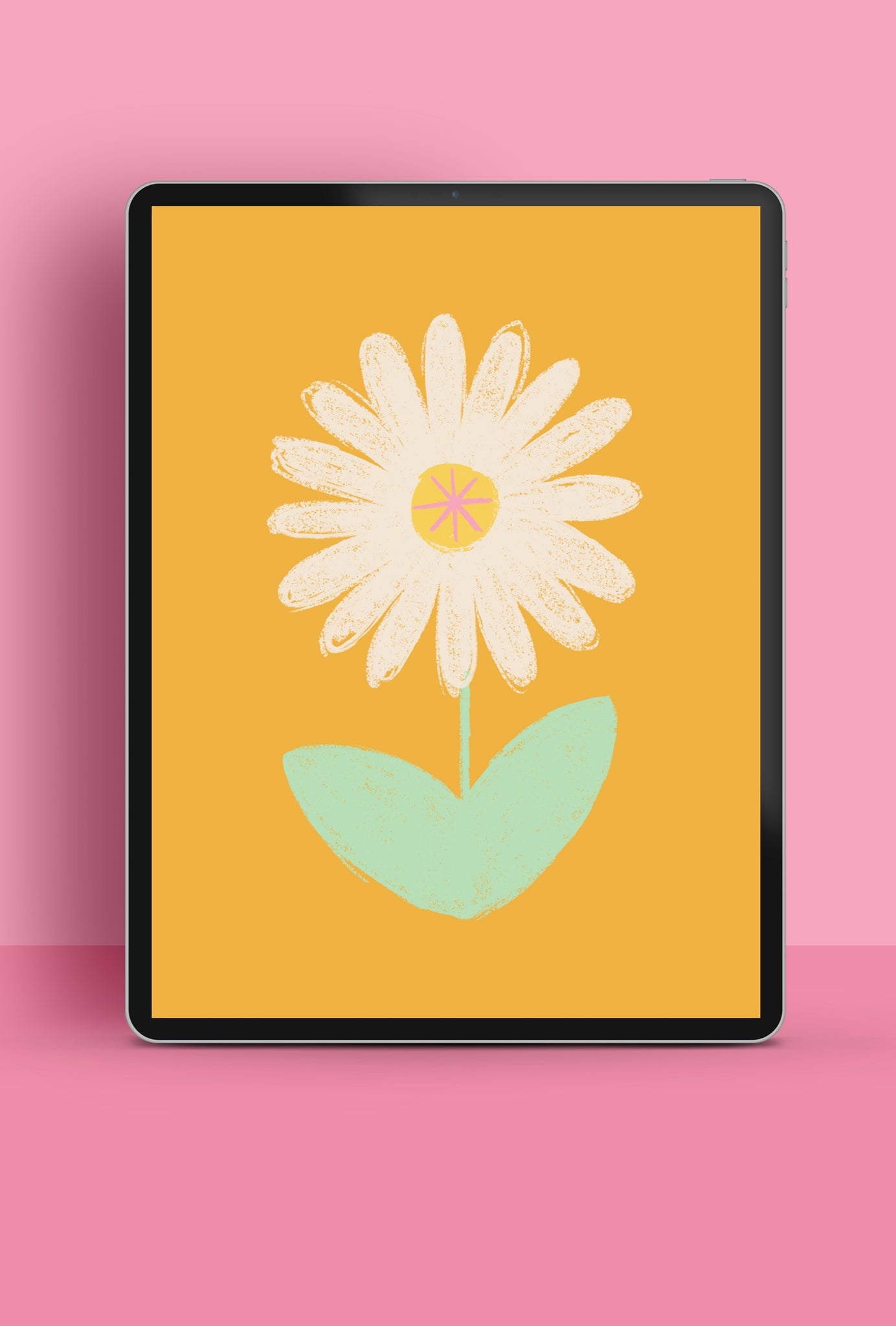 colourful illustrated daisy with mustard background tablet wallpaper