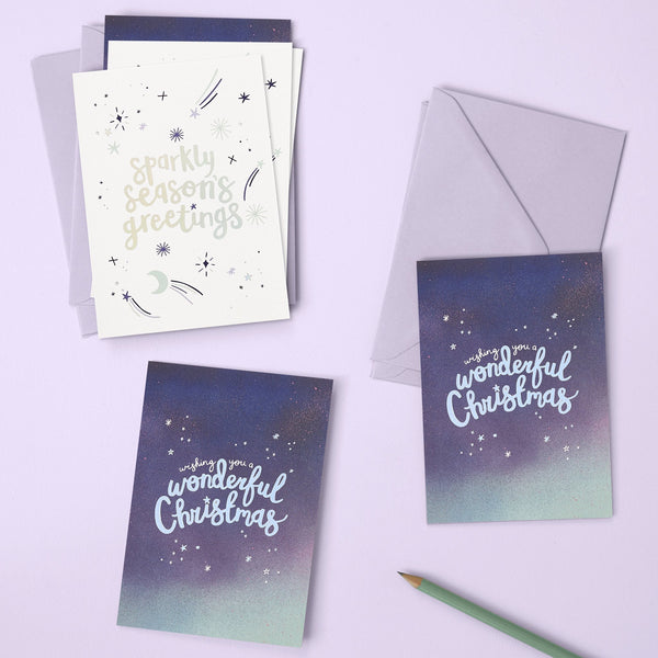 Sparkly season's greetings and Wishing you a wonderful Christmas pack