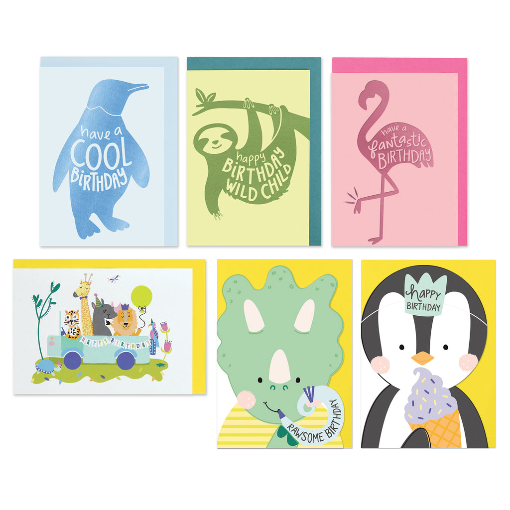 Groovy Set Of 6 Birthday Cards For Kids Raspberry Blossom Personalised Birthday Cards Paralily Jamesorg