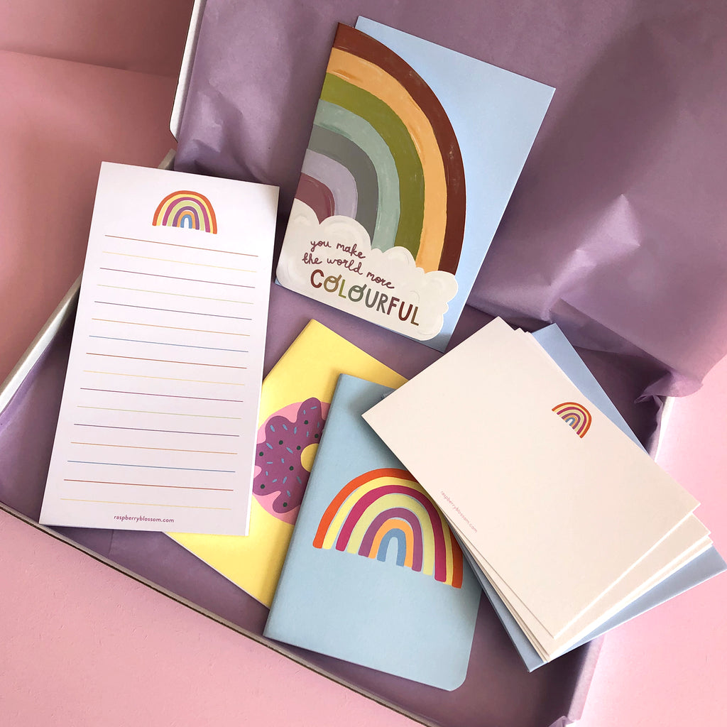 Rainbow Stationery & Card Letterbox Gift