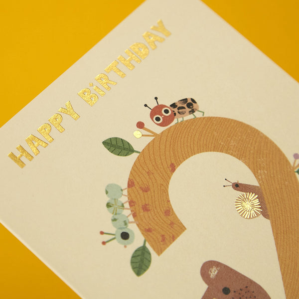Cute bear age 2 'Happy Birthday' card