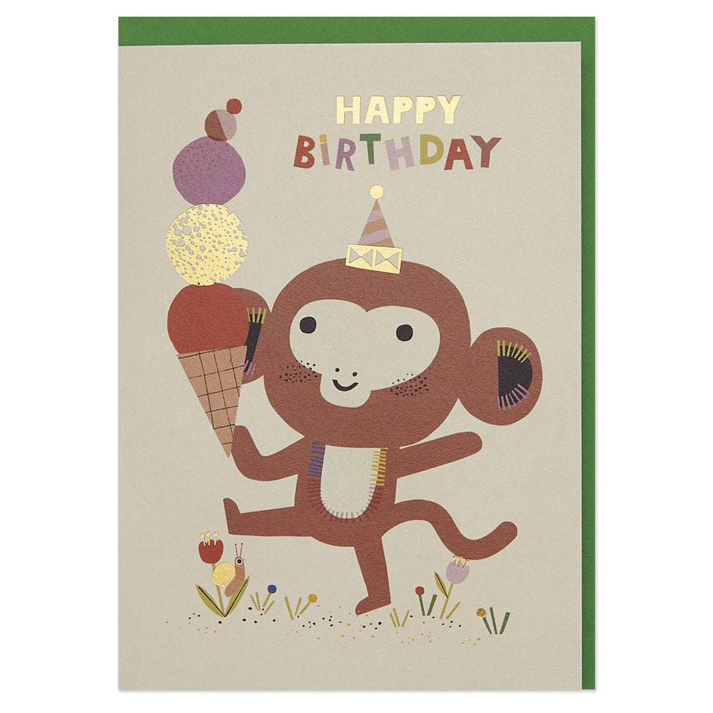 Playful monkey and ice cream children's Birthday card