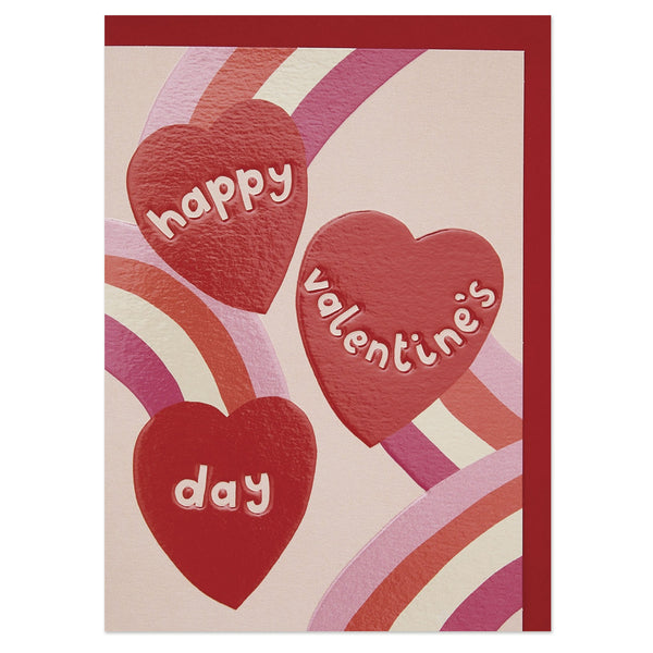 Happy Valentine's Day' shooting hearts and rainbows Valentine's Day card