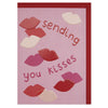 'Sending you kisses' colourful Valentine's Day card