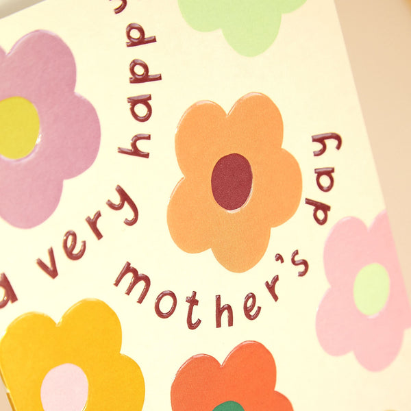 Colourful, Floral and Retro Inspired Mother's Day Card