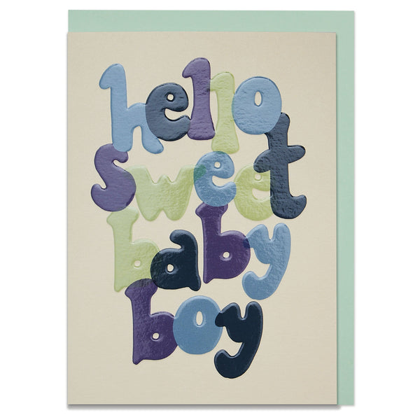 Bold, hand lettered new baby boy card with luxury finish