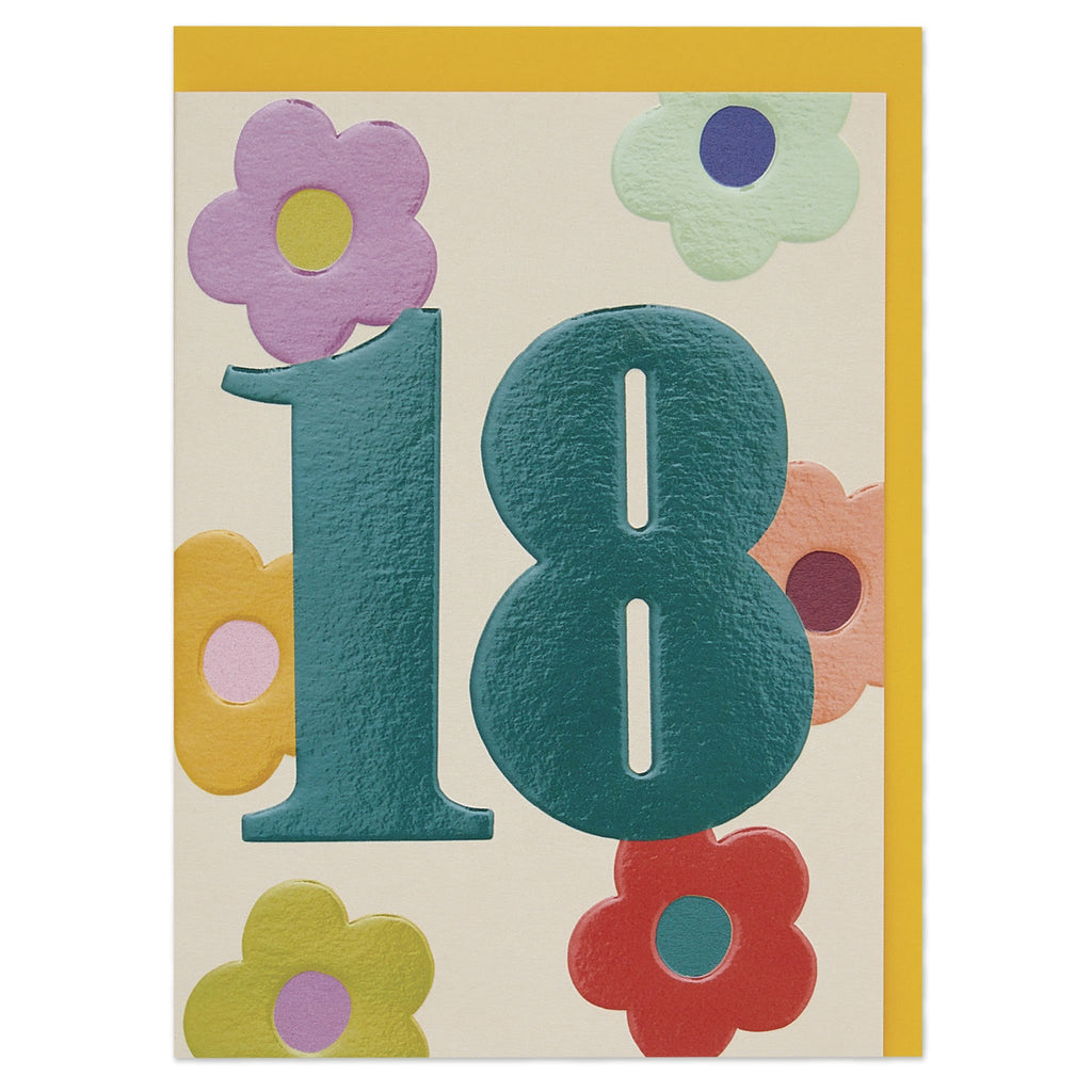 Colourful and floral age 18 Birthday card