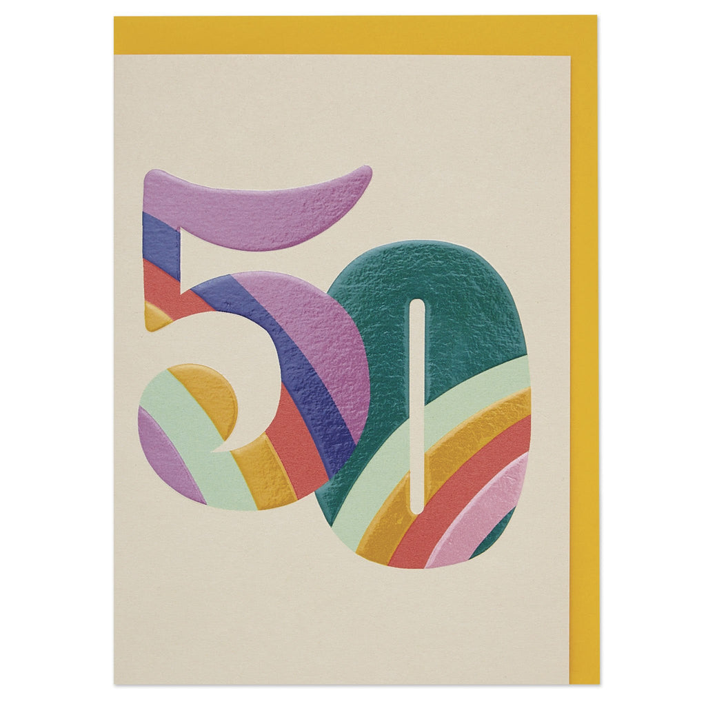 Colourful rainbow numbers age 50 Birthday card