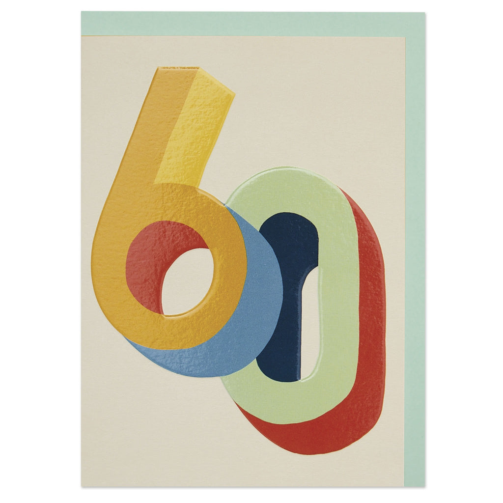 Bright colourful 3D numbers age 60 Birthday card