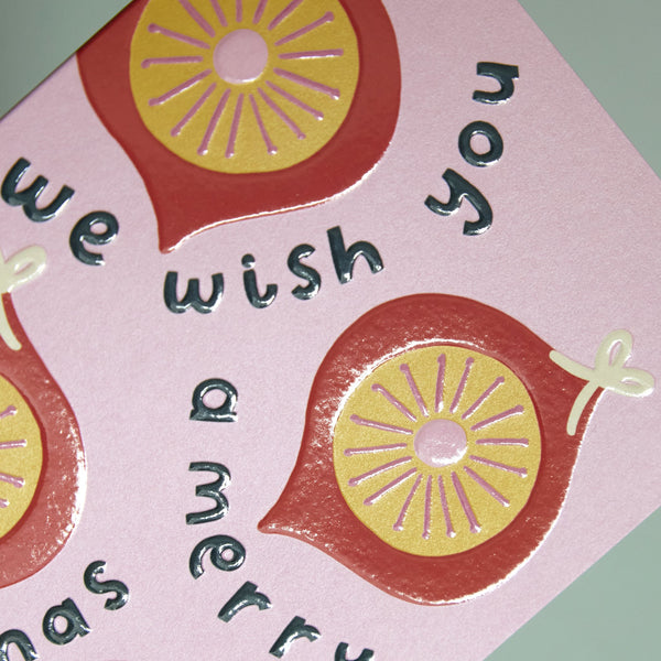 'We wish you a Merry Christmas' retro bauble Card