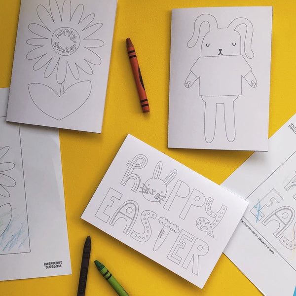 Free Colouring Easter Cards for Kids