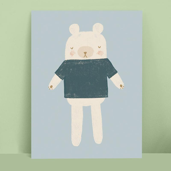 Bear Toy Print Blue