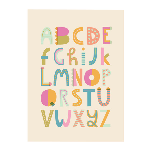 Pastel Coloured Typography Alphabet Print