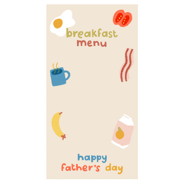 Free Father's Day Breakfast Menu printable
