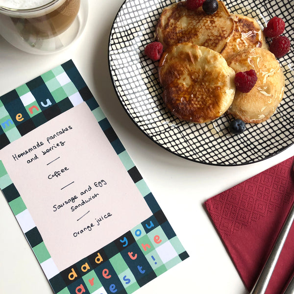 Free Father's Day Menu printable