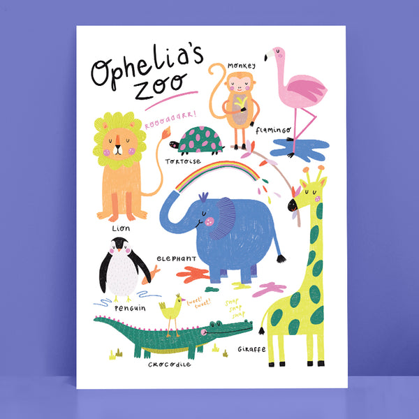 Zoo Animals Personalised Print