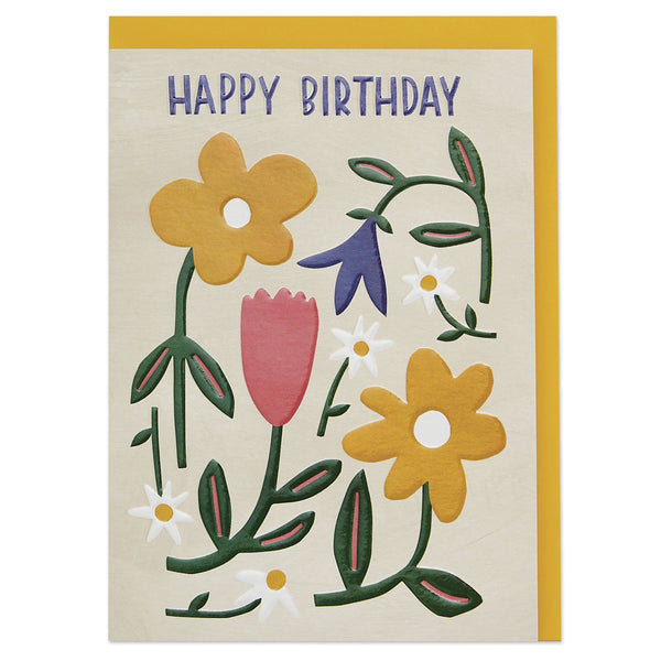 'Happy Birthday' colourful meadow flowers luxury Birthday card